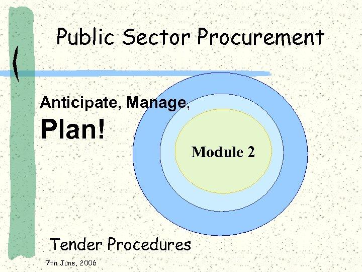 Public Sector Procurement Anticipate, Manage, Plan! Module 2 Tender Procedures 7 th June, 2006