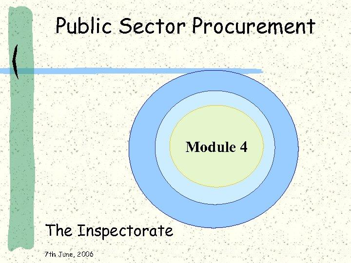 Public Sector Procurement Module 4 The Inspectorate 7 th June, 2006