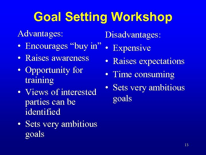 "Goal Setting Workshop Advantages: • Encourages ""buy in"" • Raises awareness • Opportunity for"