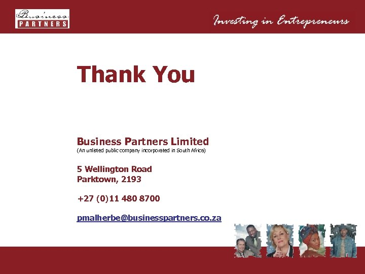 Thank You Business Partners Limited (An unlisted public company incorporated in South Africa) 5