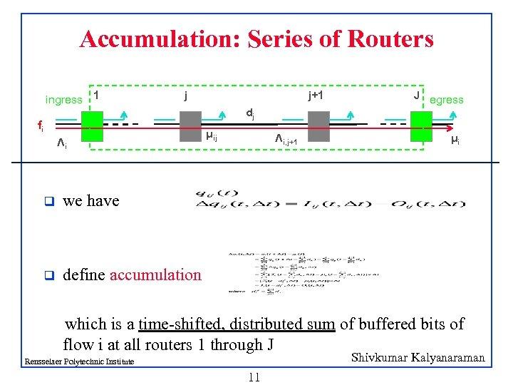 Accumulation: Series of Routers ingress 1 j j+1 J egress dj fi Λi q