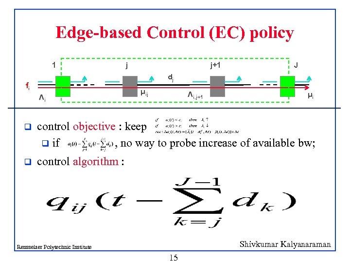 Edge-based Control (EC) policy 1 j j+1 J dj fi Λi μij Λi, j+1