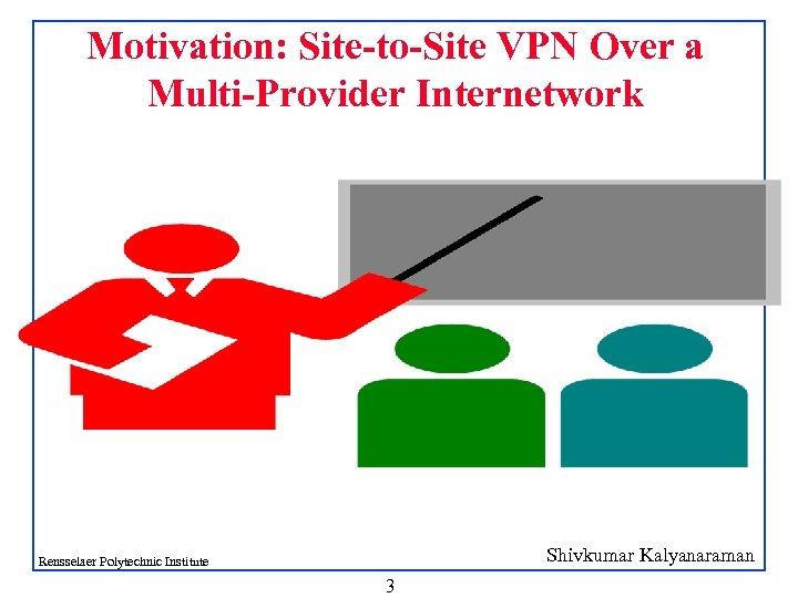 Motivation: Site-to-Site VPN Over a Multi-Provider Internetwork Shivkumar Kalyanaraman Rensselaer Polytechnic Institute 3