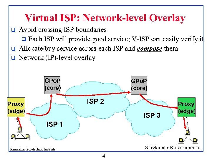 Virtual ISP: Network-level Overlay q q q Avoid crossing ISP boundaries q Each ISP