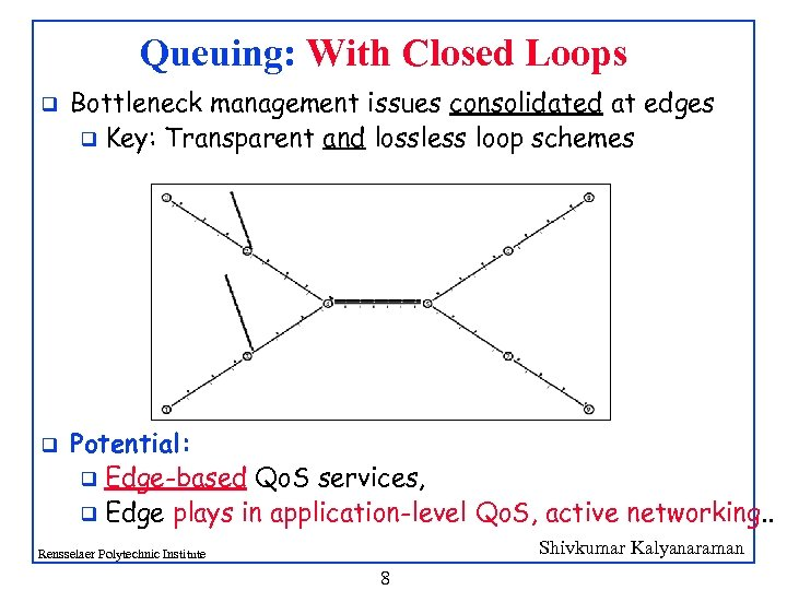 Queuing: With Closed Loops q q Bottleneck management issues consolidated at edges q Key: