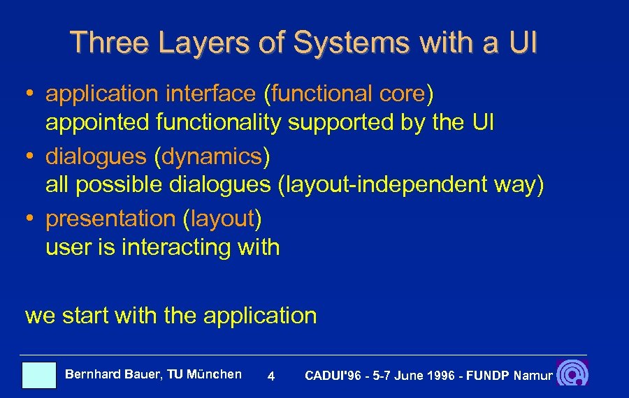Three Layers of Systems with a UI • application interface (functional core) appointed functionality