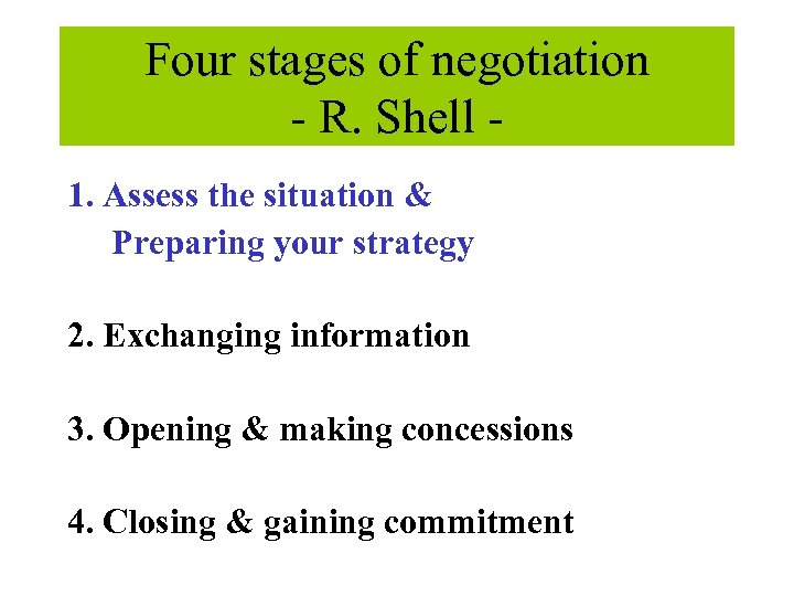 Four stages of negotiation - R. Shell 1. Assess the situation & Preparing your