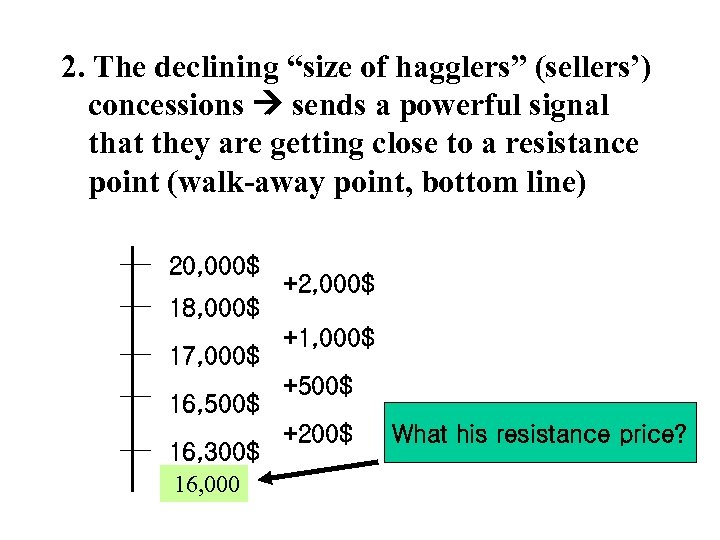 """2. The declining """"size of hagglers"""" (sellers') concessions sends a powerful signal that they"""