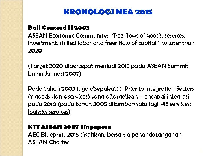 "KRONOLOGI MEA 2015 Bali Concord II 2003 ASEAN Economic Community: ""free flows of goods,"