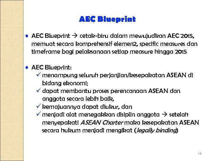 AEC Blueprint • AEC Blueprint cetak-biru dalam mewujudkan AEC 2015, memuat secara komprehensif elemen