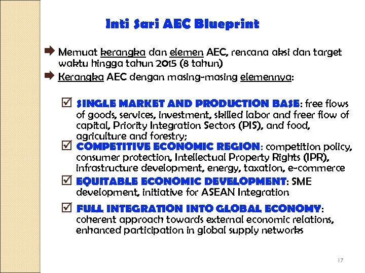 Inti Sari AEC Blueprint Æ Memuat kerangka dan elemen AEC, rencana aksi dan target