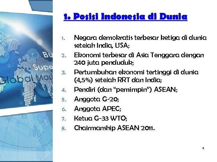 1. Posisi Indonesia di Dunia 1. 2. 3. 4. 5. 6. 7. 8. Negara