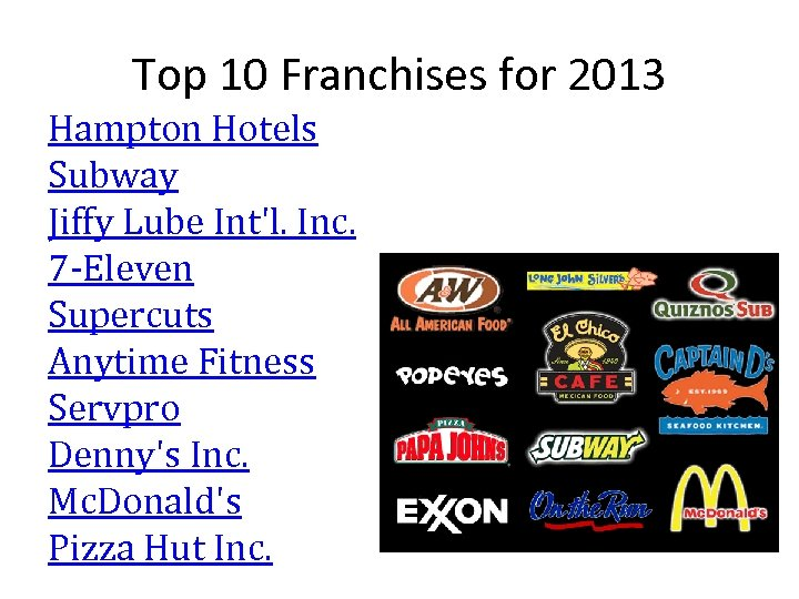 Top 10 Franchises for 2013 Hampton Hotels Subway Jiffy Lube Int'l. Inc. 7 -Eleven