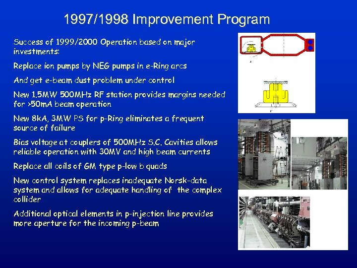 1997/1998 Improvement Program Success of 1999/2000 Operation based on major investments: Replace ion pumps