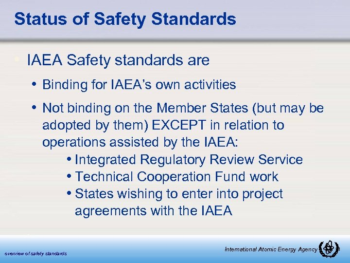 Status of Safety Standards • IAEA Safety standards are • Binding for IAEA's own