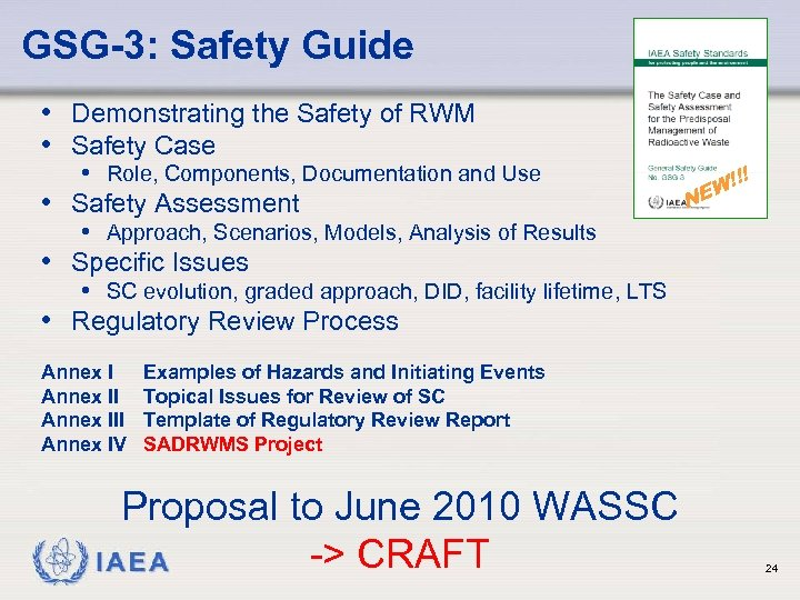 GSG-3: Safety Guide • Demonstrating the Safety of RWM • Safety Case • Role,