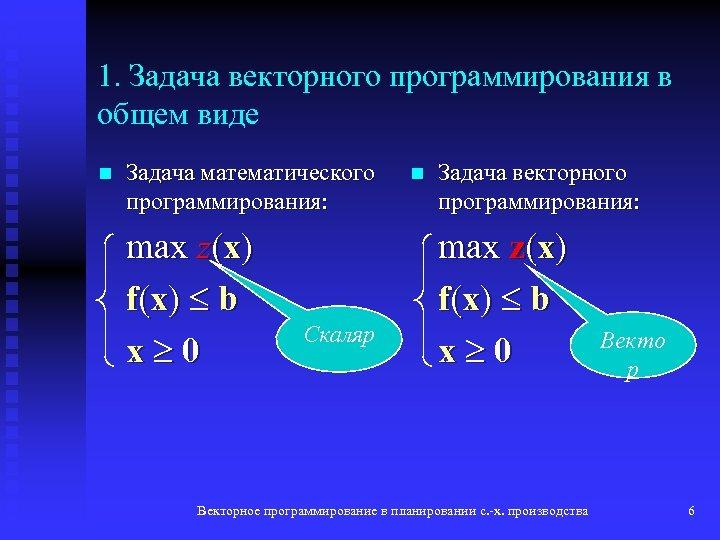 1. Задача векторного программирования в общем виде n Задача математического программирования: max z(x) f(x)