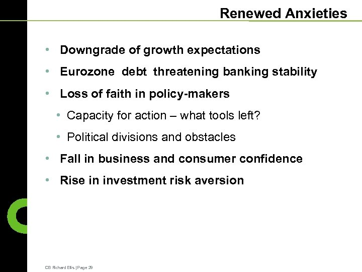 Renewed Anxieties • Downgrade of growth expectations • Eurozone debt threatening banking stability •