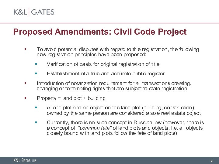 Proposed Amendments: Civil Code Project § To avoid potential disputes with regard to title