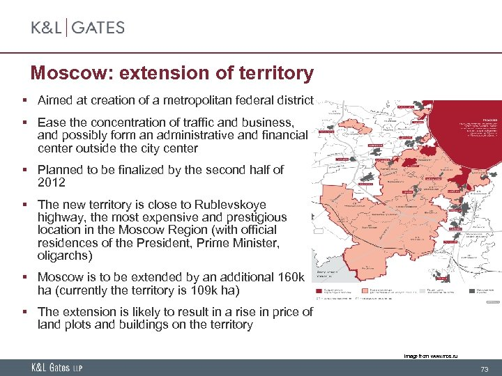Moscow: extension of territory § Aimed at creation of a metropolitan federal district §