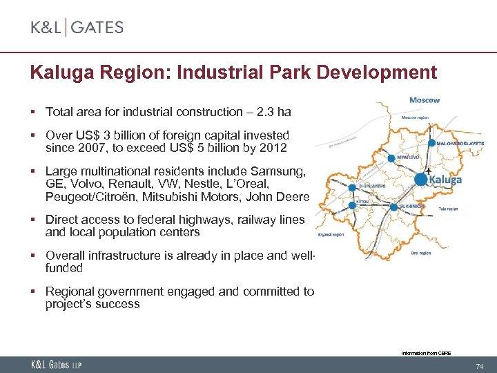Kaluga Region: Industrial Park Development § Total area for industrial construction – 2. 3