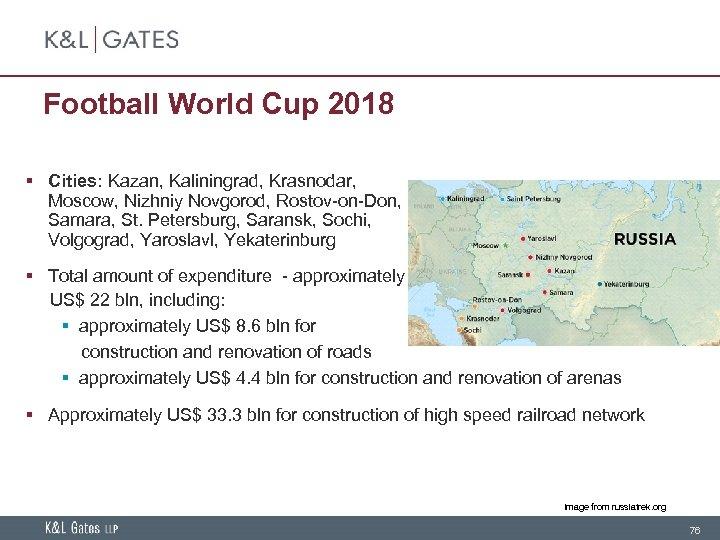 Football World Cup 2018 § Cities: Kazan, Kaliningrad, Krasnodar, Moscow, Nizhniy Novgorod, Rostov-on-Don, Samara,