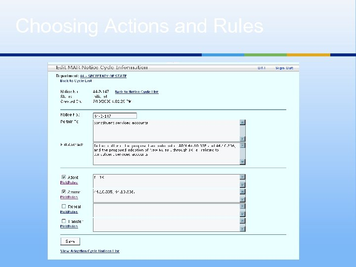 Choosing Actions and Rules X