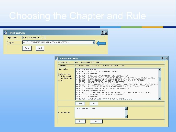 Choosing the Chapter and Rule