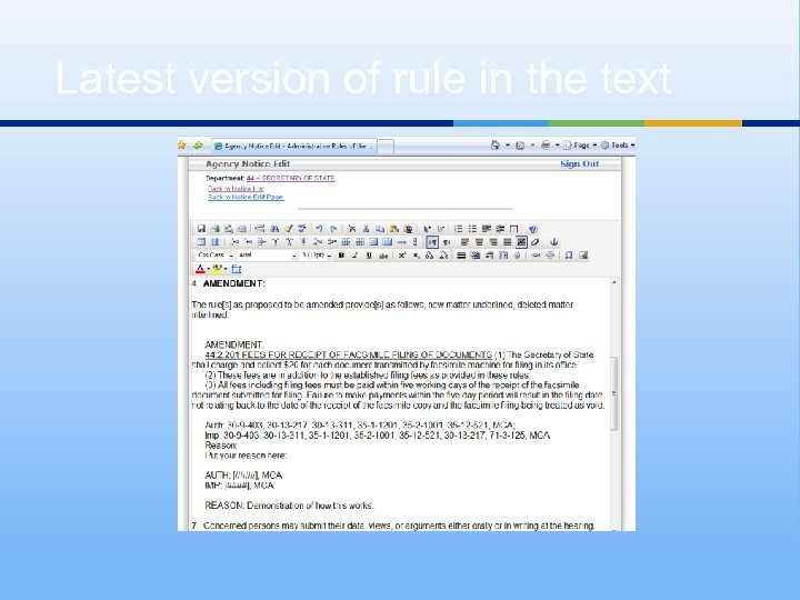 Latest version of rule in the text