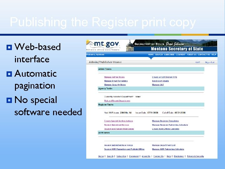 Publishing the Register print copy ¥ Web-based interface ¥ Automatic pagination ¥ No special