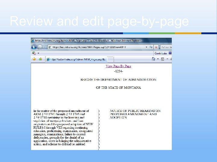 Review and edit page-by-page