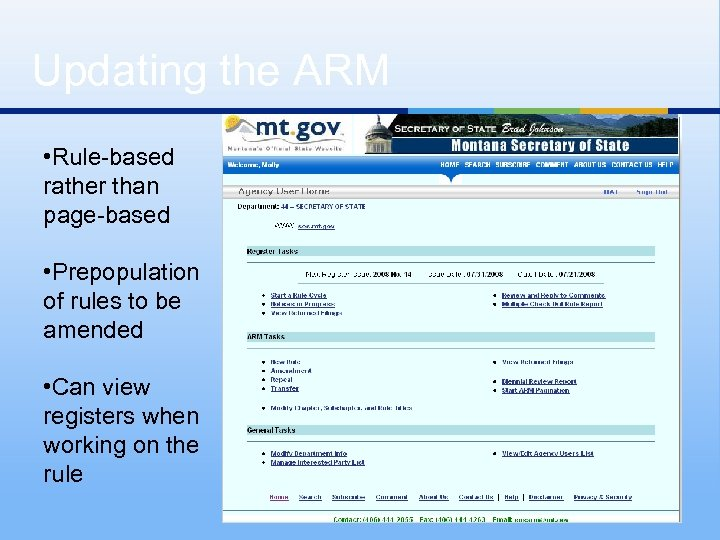 Updating the ARM • Rule-based rather than page-based • Prepopulation of rules to be
