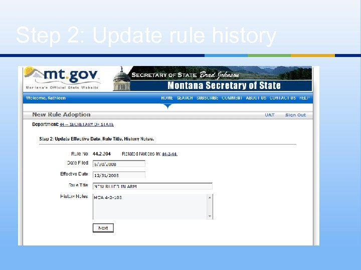 Step 2: Update rule history