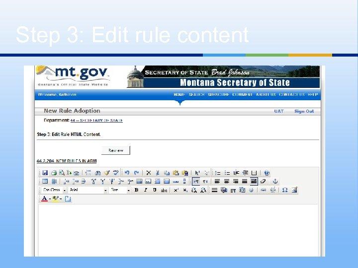 Step 3: Edit rule content