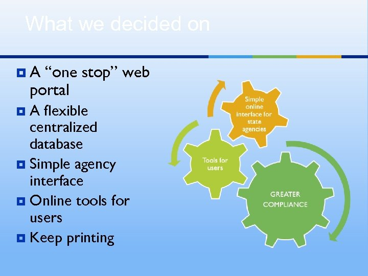 """What we decided on ¥A """"one stop"""" web portal A flexible centralized database ¥"""