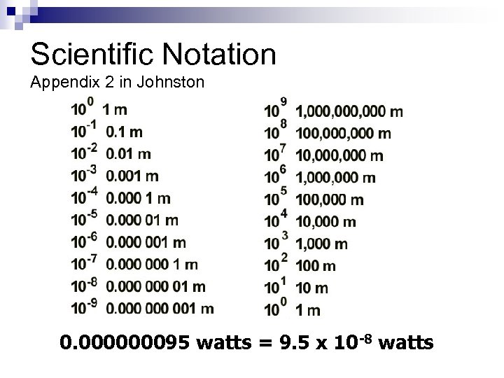 Scientific Notation Appendix 2 in Johnston 0. 000000095 watts = 9. 5 x 10
