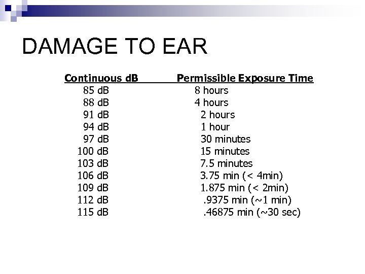 DAMAGE TO EAR Continuous d. B Permissible Exposure Time 85 d. B 8 hours
