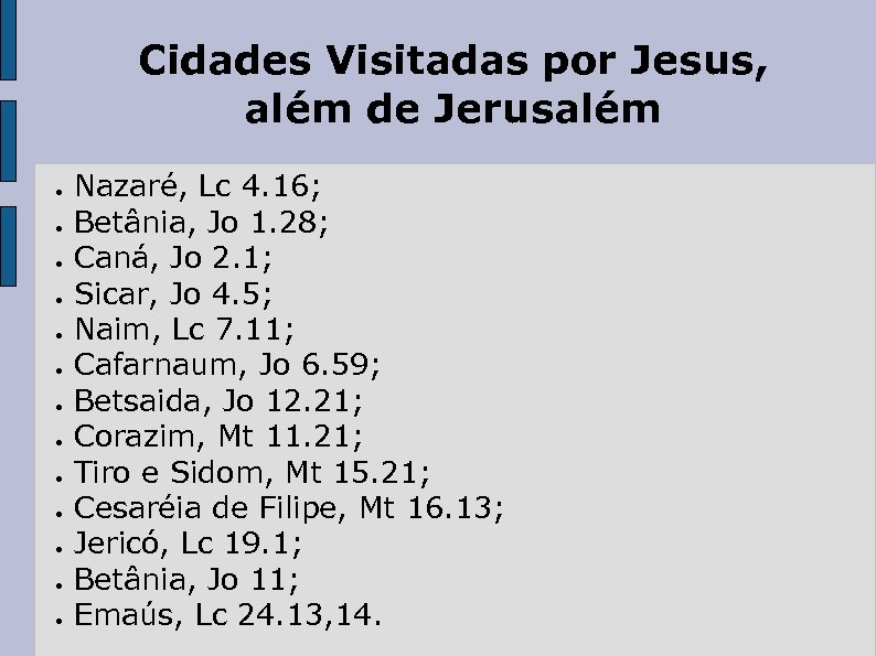 Cidades Visitadas por Jesus, além de Jerusalém ● ● ● ● Nazaré, Lc 4.