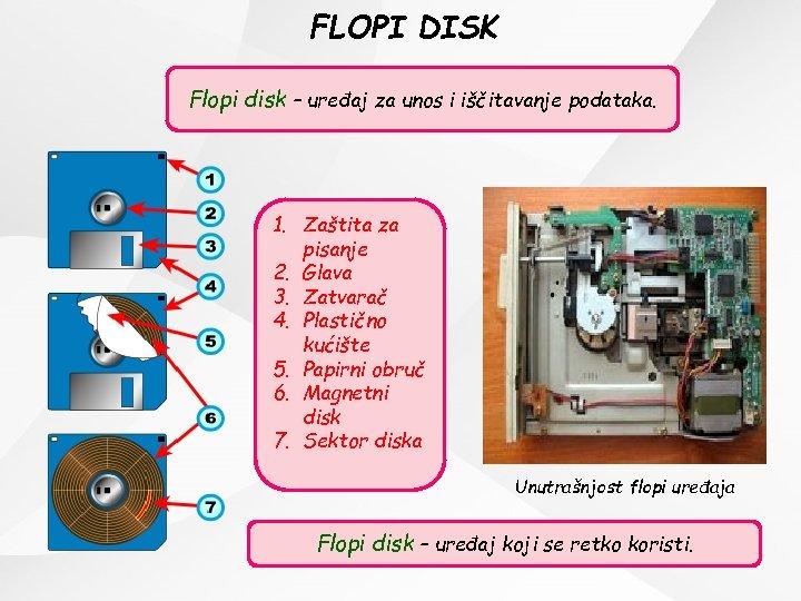 FLOPI DISK Flopi disk – uređaj za unos i iščitavanje podataka. 1. Zaštita za