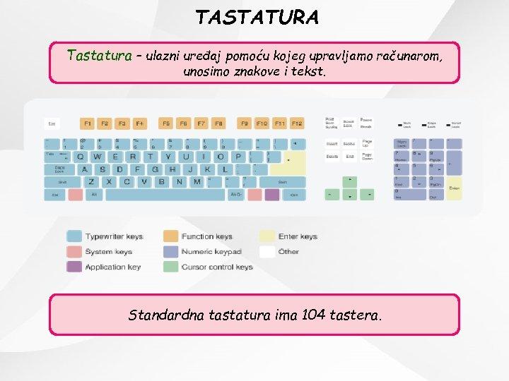 TASTATURA Tastatura – ulazni uređaj pomoću kojeg upravljamo računarom, unosimo znakove i tekst. Standardna