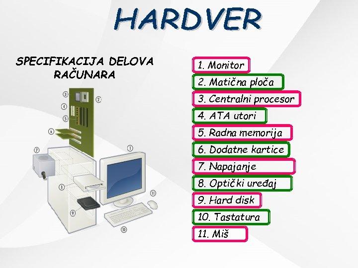 SPECIFIKACIJA DELOVA RAČUNARA 1. Monitor 2. Matična ploča 3. Centralni procesor 4. ATA utori