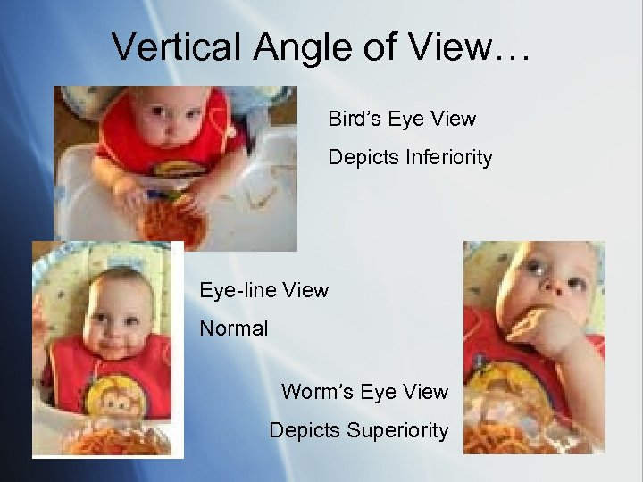 Vertical Angle of View… Bird's Eye View Depicts Inferiority Eye-line View Normal Worm's Eye