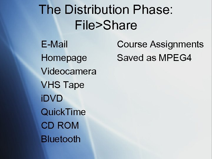 The Distribution Phase: File>Share E-Mail Homepage Videocamera VHS Tape i. DVD Quick. Time CD