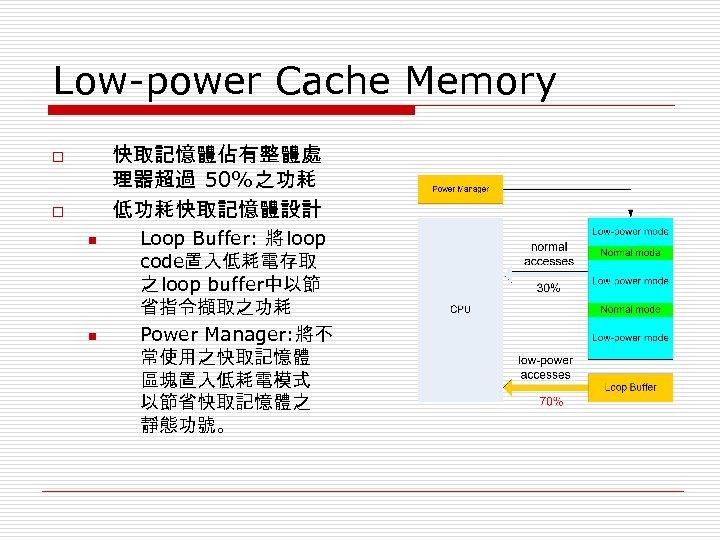 Low-power Cache Memory 快取記憶體佔有整體處 理器超過 50%之功耗 低功耗快取記憶體設計 o o n n Loop Buffer: 將