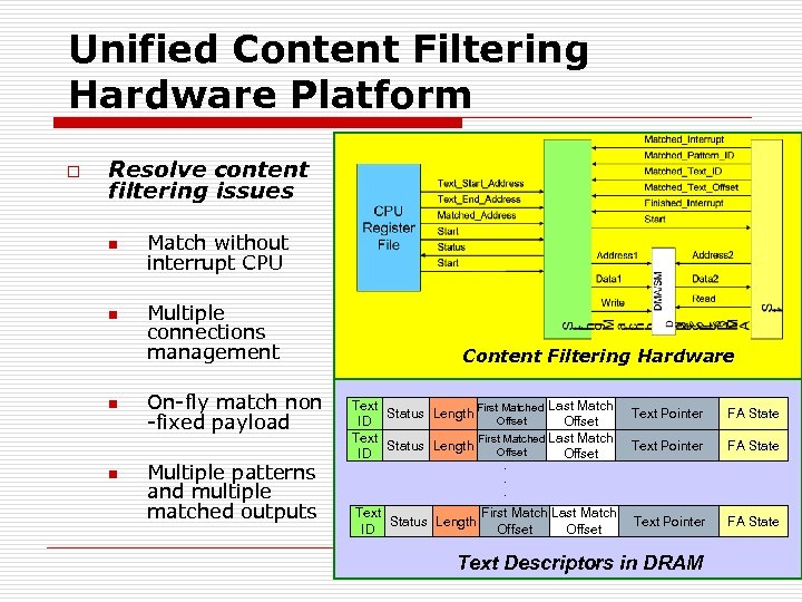 Unified Content Filtering Hardware Platform o Resolve content filtering issues n n Match without