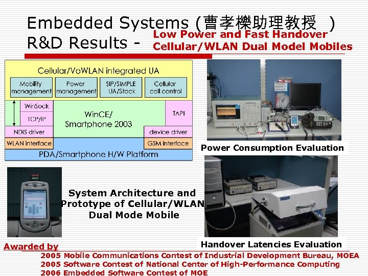 Embedded Systems (曹孝櫟助理教授 ) Low Power and Fast Handover R&D Results - Cellular/WLAN Dual