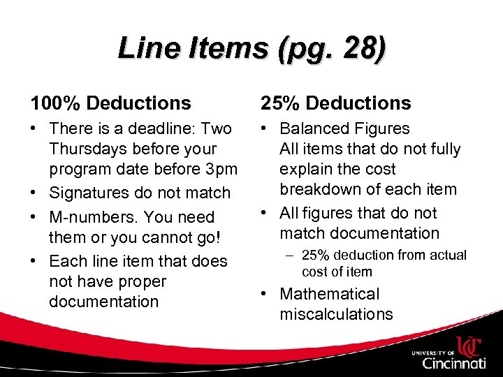Line Items (pg. 28) 100% Deductions 25% Deductions • There is a deadline: Two