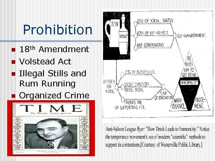 Prohibition n n 18 th Amendment Volstead Act Illegal Stills and Rum Running Organized