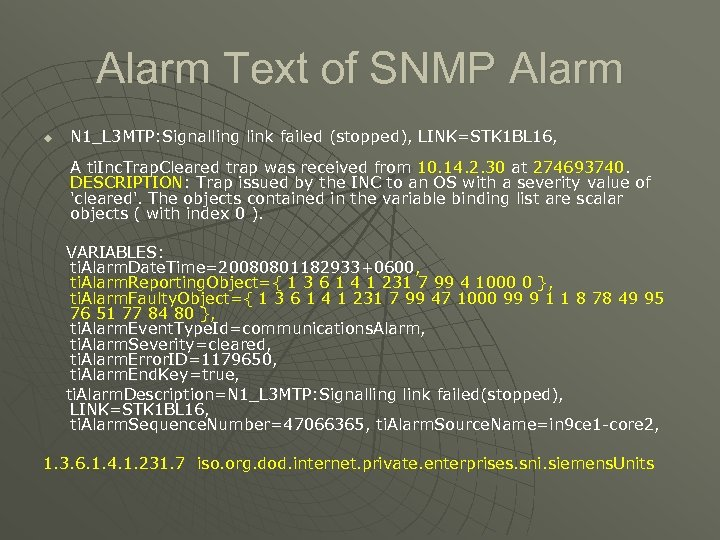 Alarm Text of SNMP Alarm u N 1_L 3 MTP: Signalling link failed (stopped),