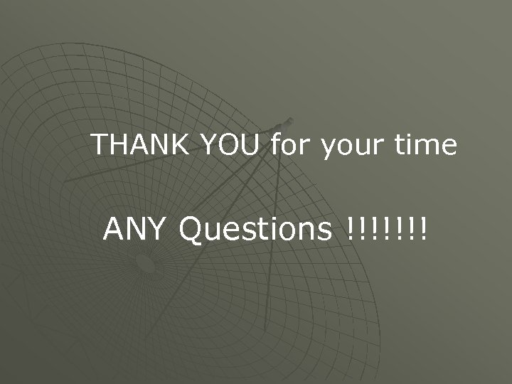 THANK YOU for your time ANY Questions !!!!!!!